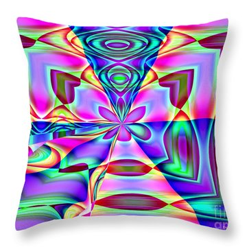 Throw Pillow featuring the digital art Flower And Hearts Modern Abstract Art Design by Annie Zeno
