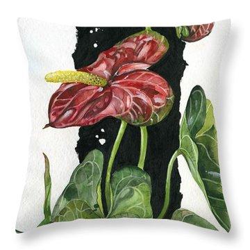 Throw Pillow featuring the painting Flower Anthurium 01 Elena Yakubovich by Elena Yakubovich