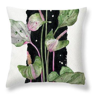 Throw Pillow featuring the painting Flower Anthurium 02 Elena Yakubovich by Elena Yakubovich