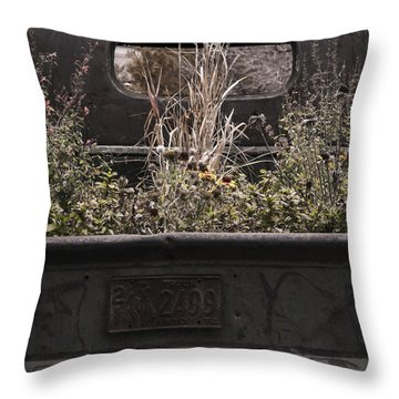 Throw Pillow featuring the photograph Flower Bed - Nature And Machine by Steven Milner