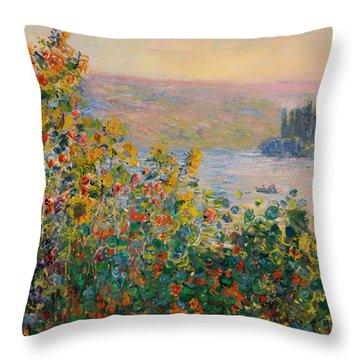 Flower Beds At Vetheueil Throw Pillow