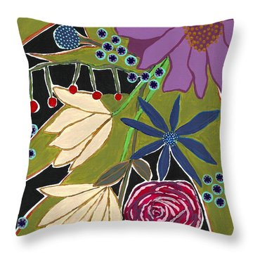 Throw Pillow featuring the mixed media Flower Bouquet by Lisa Noneman
