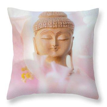 Flower Buddha 3 Throw Pillow by Jenny Rainbow