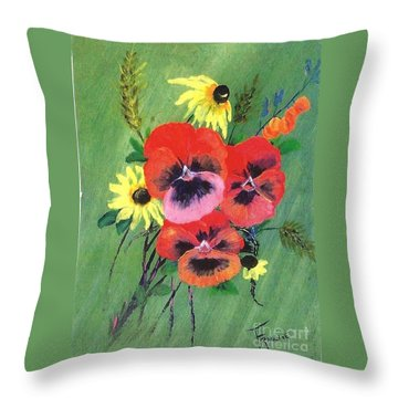 Flower Bunch Throw Pillow by Francine Heykoop