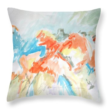 Throw Pillow featuring the painting Flower Bursts by Esther Newman-Cohen