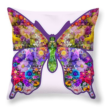 Flower Butterfly Throw Pillow by Alixandra Mullins