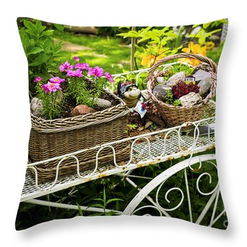 Flower Cart In Garden Throw Pillow