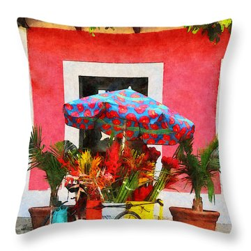Flower Cart San Juan Puerto Rico Throw Pillow by Susan Savad