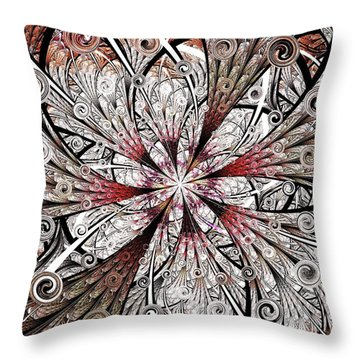 Flower Carving Throw Pillow by Anastasiya Malakhova