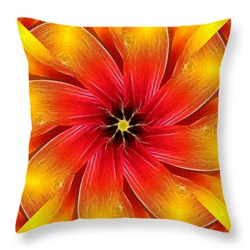 Flower Close-up--fractalius Kaleidoscope Throw Pillow