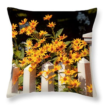 Flower - Coreopsis - The Warmth Of Summer Throw Pillow by Mike Savad