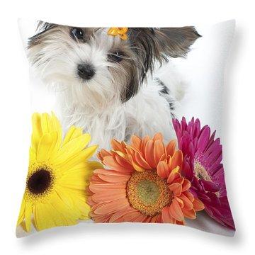 Flower Doggie Throw Pillow