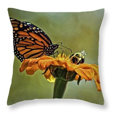 Flower Duet Throw Pillow