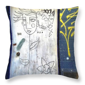 Flower Faces Throw Pillow