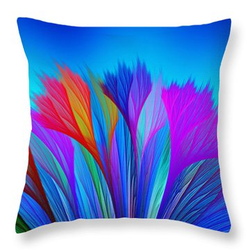 Flower Fantasy In Blue Throw Pillow