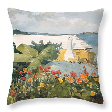 Flower Garden And Bungalow Throw Pillow