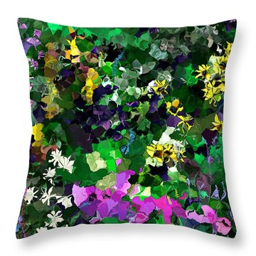 Throw Pillow featuring the digital art Flower Garden by David Lane