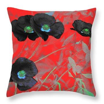 Flower Garden -  Four Black Poppies On Red Throw Pillow