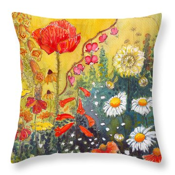 Flower Garden Throw Pillow by Katherine Miller