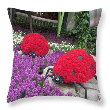 Throw Pillow featuring the photograph Flower Garden Ladybug Purple White I by Navin Joshi