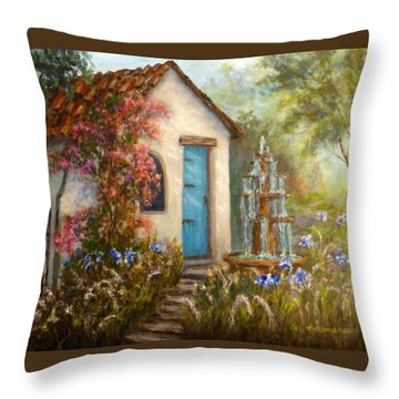 Flower Garden Paintings Throw Pillow