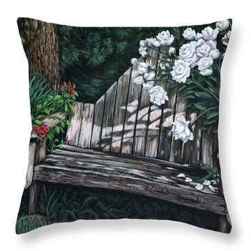 Throw Pillow featuring the painting Flower Garden Seat by Penny Birch-Williams