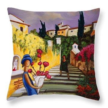 Flower Girl Art Print Throw Pillow