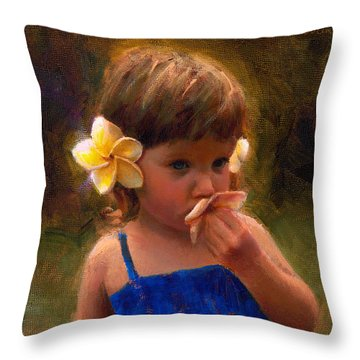Flower Girl - Tropical Portrait With Plumeria Flowers Throw Pillow