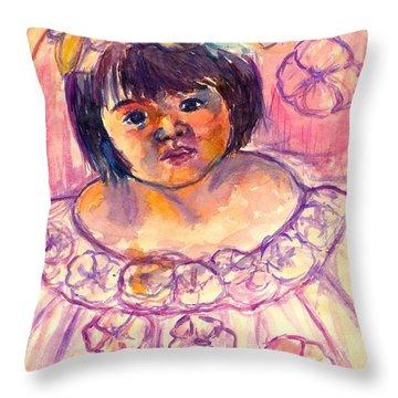 Flower Girl Throw Pillow by Kendall Kessler
