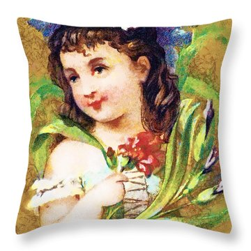 Flower Girl Throw Pillow by Vintage Trading Cards