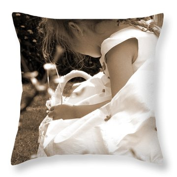 Flower Girls In Sepia Throw Pillow by Terri Waters