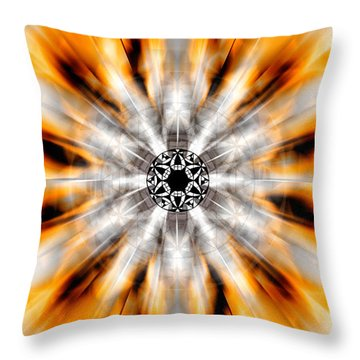 Throw Pillow featuring the drawing Flower Grid Sixty-three by Derek Gedney