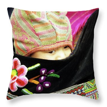 Flower Hmong Baby 02 Throw Pillow by Rick Piper Photography