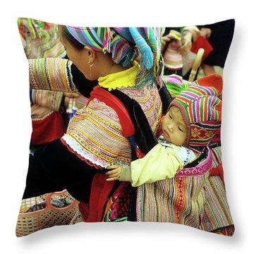 Flower Hmong Baby 03 Throw Pillow
