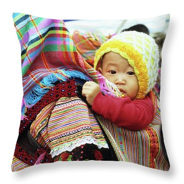 Flower Hmong Baby 04 Throw Pillow