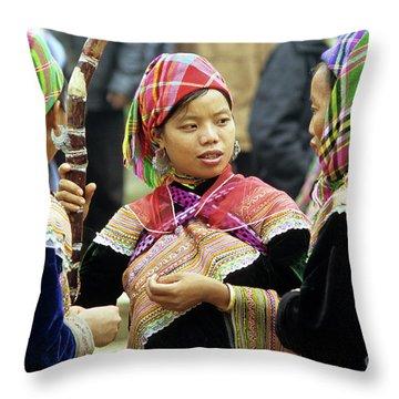 Flower Hmong Women Throw Pillow
