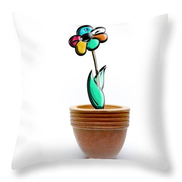 Flower In A Pot. Concept Throw Pillow