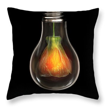 Flower In Bulb Throw Pillow by Bess Hamiti