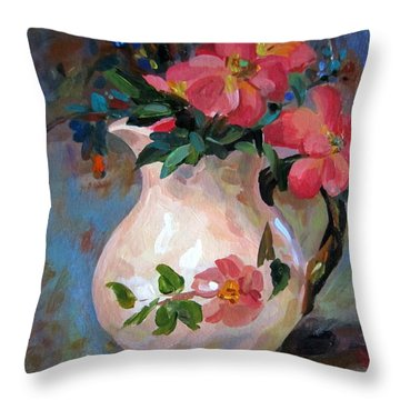 Flower In Vase Throw Pillow by Jieming Wang