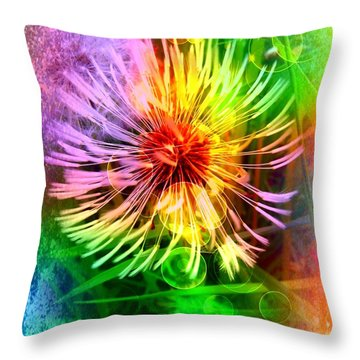 Throw Pillow featuring the digital art Flower Light by Nico Bielow