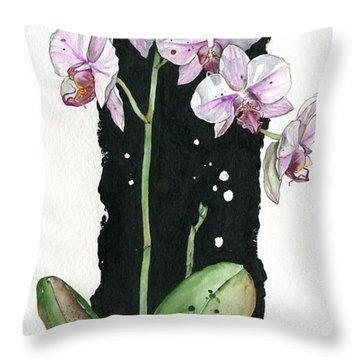 Throw Pillow featuring the painting Flower Orchid 02 Elena Yakubovich by Elena Yakubovich