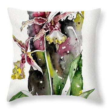 Throw Pillow featuring the painting Flower Orchid 03 Elena Yakubovich by Elena Yakubovich