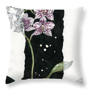 Throw Pillow featuring the painting Flower Orchid 04 Elena Yakubovich by Elena Yakubovich