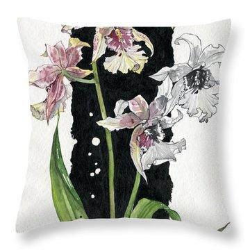 Throw Pillow featuring the painting Flower Orchid 06 Elena Yakubovich by Elena Yakubovich