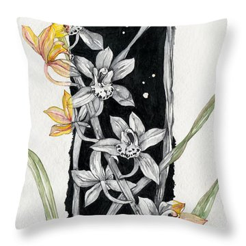 Flower Orchid 07 Elena Yakubovich Throw Pillow by Elena Yakubovich