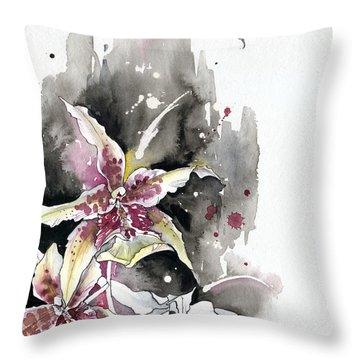 Flower Orchid 12 Elena Yakubovich Throw Pillow by Elena Yakubovich