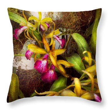 Flower - Orchid - Cattleya - There's Something About Orchids  Throw Pillow by Mike Savad