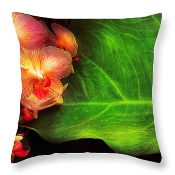 Flower - Orchid - Phalaenopsis Orchids At Rest Throw Pillow by Mike Savad