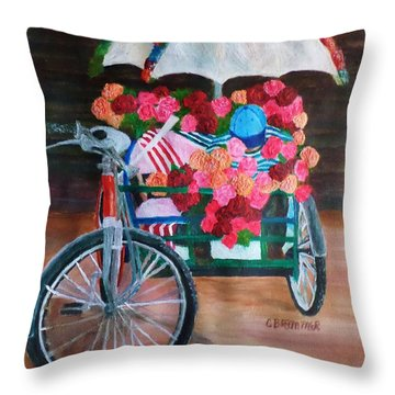 Flower Peddler Throw Pillow by Christy Saunders Church