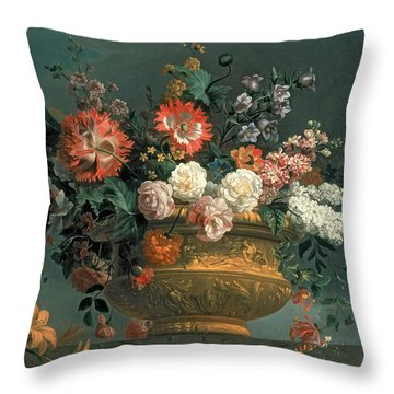 Flower Piece With Parrot Throw Pillow